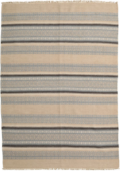 Kilim Modern Rug 160X226 Authentic  Modern Handwoven Light Brown/Light Grey (Wool, India)