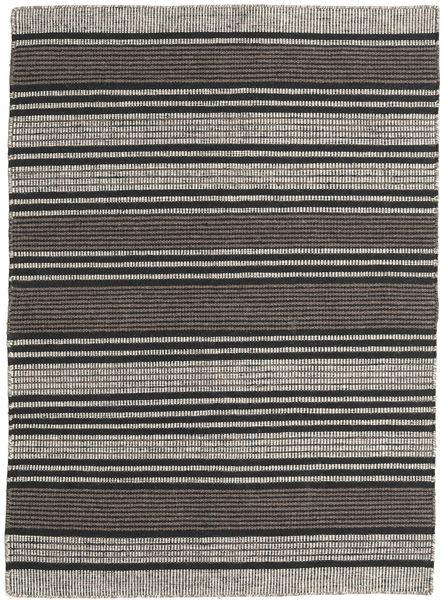 Kelim Moderni Matto 138X196 Moderni Käsinkudottu Tummanharmaa/Musta/Vaaleanharmaa (Villa, Intia)