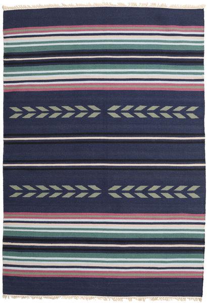 Kelim Moderni Matto 163X235 Moderni Käsinkudottu Tummanvioletti/Tummansininen (Villa, Intia)