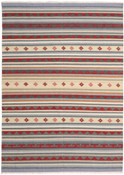 Kelim Moderne Teppe 189X265 Ekte Moderne Håndvevd Lys Grå/Mørk Grå (Ull, India)