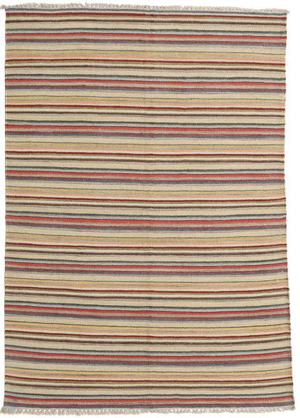 Kelim Moderni Matto 142X204 Moderni Käsinkudottu Vaaleanruskea (Villa, Intia)