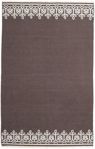 Kilim Moderne Tapis 155X244 Moderne Tissé À La Main Marron Foncé/Gris Clair (Laine, Inde)