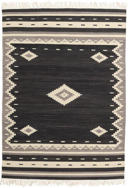 Tribal - Zwart Vloerkleed 160X230 Echt Modern Handgeweven Zwart/Beige (Wol, India)