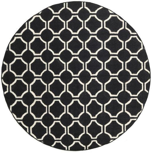 London - Czarny/Kość Słoniowa Dywan Ø 225 Nowoczesny Tkany Ręcznie Okrągły Czarny/Beżowy (Wełna, Indie)