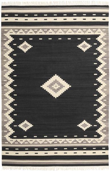 Tribal - 黒 絨毯 200X300 モダン 手織り 黒/ベージュ (ウール, インド)