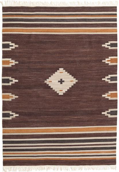 Tribal - Ruskea Matto 140X200 Moderni Käsinkudottu Tummanruskea/Tummanpunainen (Villa, Intia)