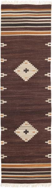 Tribal - Barna Szőnyeg 80X300 Modern Kézi Szövésű Sötétpiros/Világosbarna (Gyapjú, India)