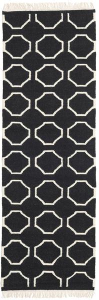 London - Black/Off White Rug 80X350 Authentic  Modern Handwoven Hallway Runner  Black/Beige (Wool, India)