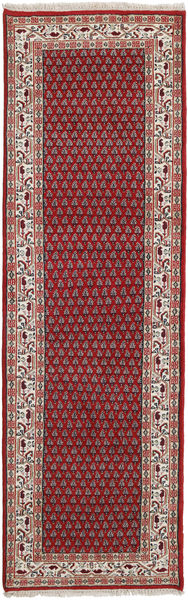 Mir Indo Rug 85X306 Authentic  Oriental Handknotted Hallway Runner  Dark Red/Brown (Wool, India)