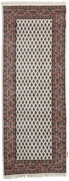 Mir Indo Matto 74X240 Itämainen Käsinsolmittu Käytävämatto Vaaleanruskea/Tummanruskea (Villa, Intia)