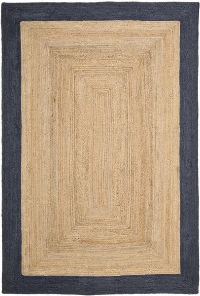 Frida Frame - Natural/Navy Teppe 200X300 Ekte Moderne Håndvevd Lysbrun/Mørk Lilla/Mørk Beige ( India)