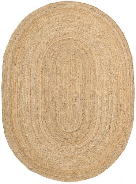 Frida Oval - Natural Matta 160X230 Äkta Modern Handvävd Ljusbrun/Mörkbeige ( Indien)