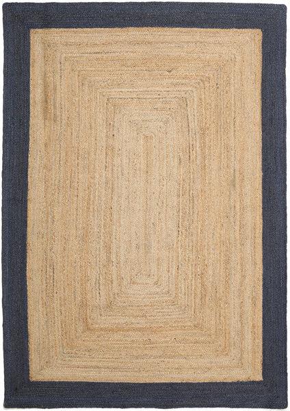 Frida Frame - Natural/Navy Tappeto 160X230 Moderno Tessuto A Mano Marrone Chiaro/Beige Scuro/Blu Scuro ( India)
