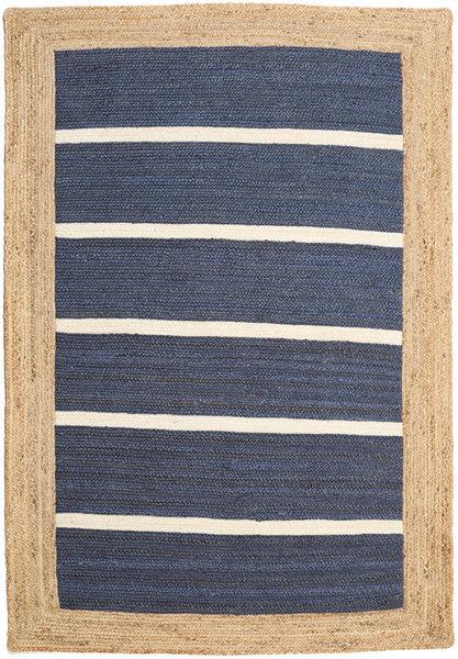 Jute Matto 160X230 Moderni Käsinkudottu Sininen/Tummansininen ( Intia)