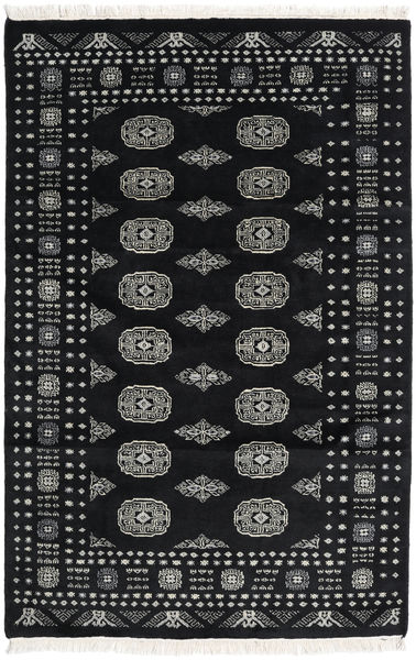 Pakistan Bokhara 2Ply Matto 122X188 Itämainen Käsinsolmittu Musta/Tummanharmaa (Villa, Pakistan)