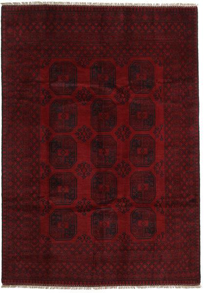 Afghan Matta 199X281 Äkta Orientalisk Handknuten Mörkbrun/Mörkröd (Ull, Afghanistan)