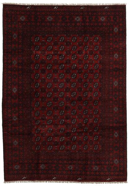 アフガン 絨毯 202X287 オリエンタル 手織り 濃い茶色/深紅色の (ウール, アフガニスタン)