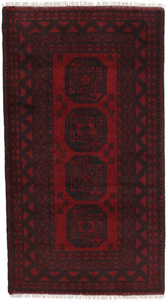 アフガン 絨毯 105X190 オリエンタル 手織り 濃い茶色/深紅色の (ウール, アフガニスタン)