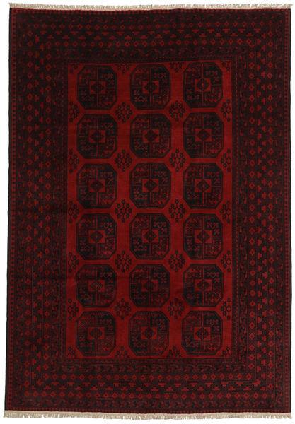 アフガン 絨毯 197X284 オリエンタル 手織り 濃い茶色/赤 (ウール, アフガニスタン)