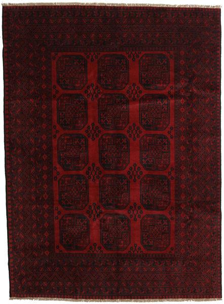 Afghan Matta 203X279 Äkta Orientalisk Handknuten Mörkbrun/Mörkröd (Ull, Afghanistan)