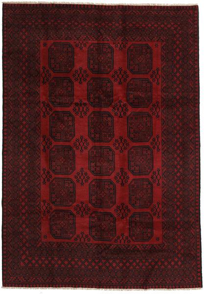 Afghan Matto 200X288 Itämainen Käsinsolmittu Tummanruskea/Tummanpunainen (Villa, Afganistan)