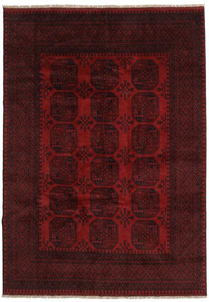 Afghan Vloerkleed 199X281 Echt Oosters Handgeknoopt Donkerrood (Wol, Afghanistan)