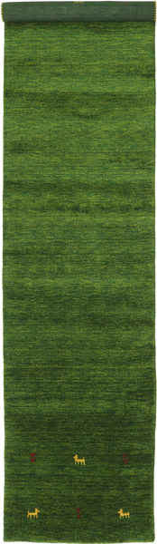 Gabbeh Loom Two Lines - Green Rug 80X350 Modern Hallway Runner  Dark Green (Wool, India)