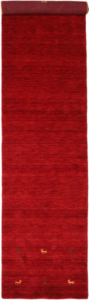 Gabbeh Loom Two Lines - Red Rug 80X350 Modern Hallway Runner  Crimson Red/Dark Red (Wool, India)