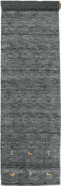 Gabbeh Loom Two Lines - Mörkgrå/Grön Matta 80X350 Modern Hallmatta Mörkgrön/Ljusgrå (Ull, Indien)