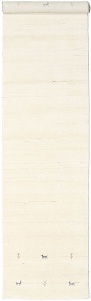 Gabbeh Loom Two Lines - Off White Rug 80X450 Modern Hallway Runner  Beige/White/Creme (Wool, India)