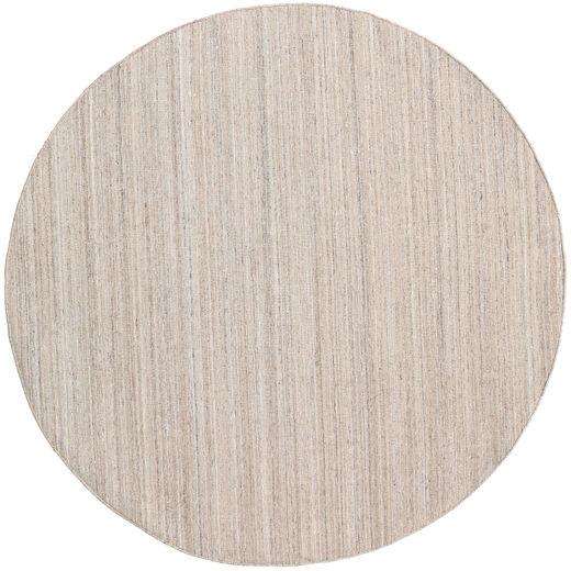 Petra - Beige_Mix Rug Ø 200 Authentic  Modern Handwoven Round Light Grey/Dark Grey/White/Creme ( India)