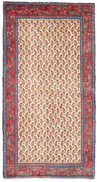 Sarouk Rug 68X129 Authentic  Oriental Handknotted Pink/Beige (Wool, Persia/Iran)