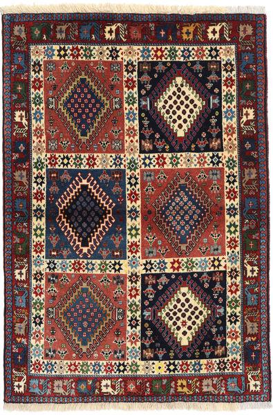 Yalameh Rug 104X148 Authentic  Oriental Handknotted Dark Grey/Dark Red (Wool, Persia/Iran)
