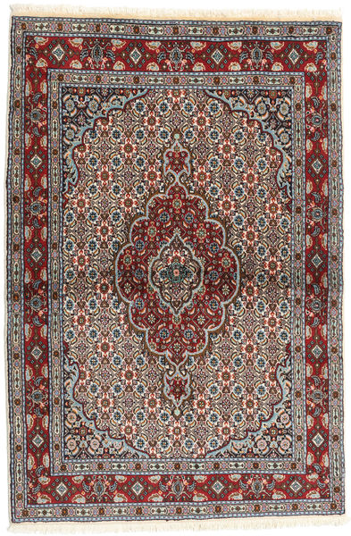 Moud Rug 98X149 Authentic  Oriental Handknotted Dark Brown/Brown (Wool/Silk, Persia/Iran)