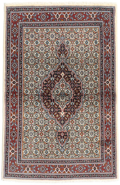 Moud Rug 98X148 Authentic  Oriental Handknotted Dark Brown/Beige (Wool/Silk, Persia/Iran)