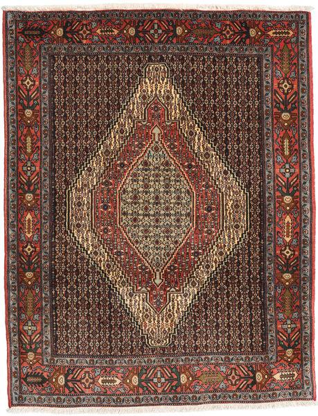 Senneh Tapis 124X157 D'orient Fait Main Rouge Foncé/Noir (Laine, Perse/Iran)