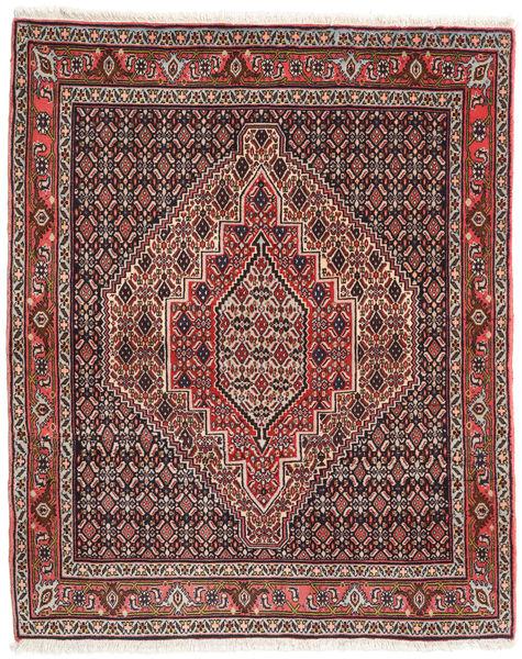 Senneh Tapis 124X153 D'orient Fait Main Noir/Rouge Foncé (Laine, Perse/Iran)
