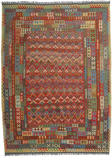 Kilim Afghan Old Style Rug 255X350 Authentic  Oriental Handwoven Dark Red/Dark Grey Large (Wool, Afghanistan)
