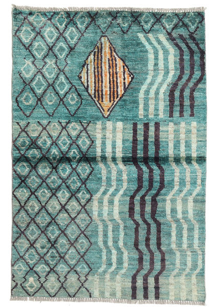 Barchi/Moroccan Berber - Afganistan Rug 90X134 Authentic  Modern Handknotted Turquoise Blue/Pastel Green (Wool, Afghanistan)