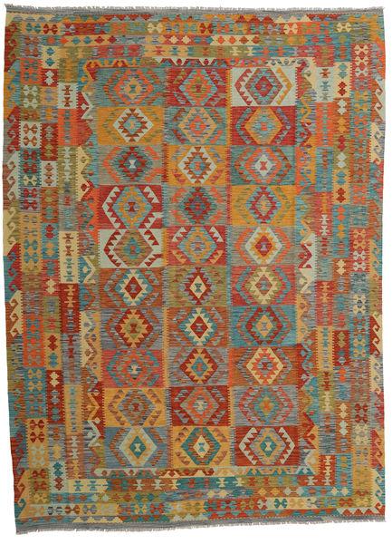 Kelim Afghan Old Style Matto 253X345 Itämainen Käsinkudottu Ruskea/Tummanharmaa Isot (Villa, Afganistan)