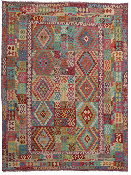Kilim Afghan Old Style Rug 258X338 Authentic  Oriental Handwoven Brown/Dark Purple Large (Wool, Afghanistan)