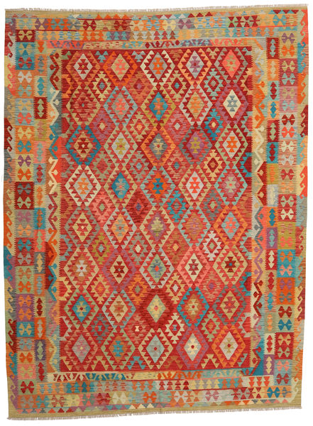 Kilim Afghan Old Style Rug 262X349 Authentic  Oriental Handwoven Rust Red/Light Brown Large (Wool, Afghanistan)