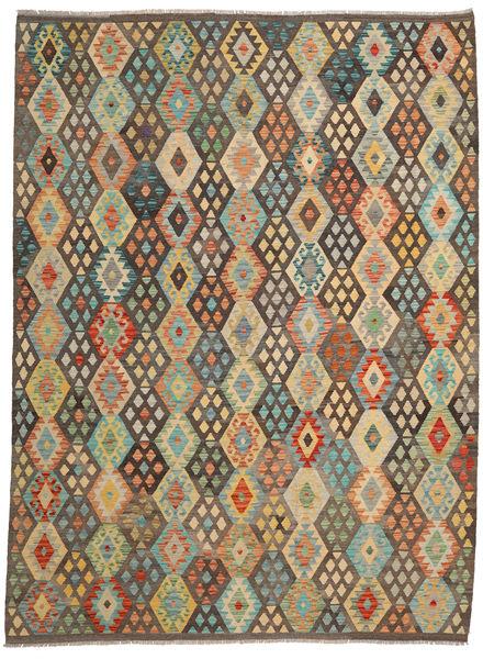 Kelim Afghan Old Style Matto 251X339 Itämainen Käsinkudottu Vaaleanruskea/Ruskea Isot (Villa, Afganistan)