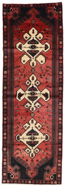 Hamadan Matto 105X316 Itämainen Käsinsolmittu Käytävämatto Tummanpunainen/Musta (Villa, Persia/Iran)
