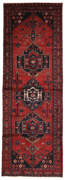 Hamadan Rug 96X280 Authentic  Oriental Handknotted Hallway Runner  Dark Red (Wool, Persia/Iran)