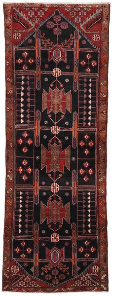 Hamadan Teppich  108X310 Echter Orientalischer Handgeknüpfter Läufer Schwartz/Dunkelrot (Wolle, Persien/Iran)