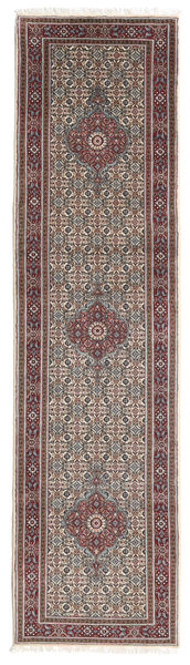 Moud Rug 79X298 Authentic  Oriental Handknotted Hallway Runner  Light Brown/Beige (Wool/Silk, Persia/Iran)