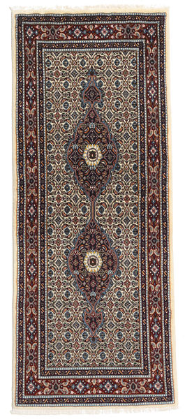 Moud Alfombra 76X188 Oriental Hecha A Mano Rojo Oscuro/Marrón Oscuro (Lana/Seda, Persia/Irán)