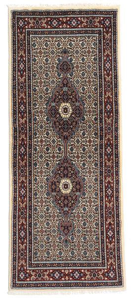 Moud Rug 76X188 Authentic  Oriental Handknotted Hallway Runner  Dark Red/Light Brown (Wool/Silk, Persia/Iran)