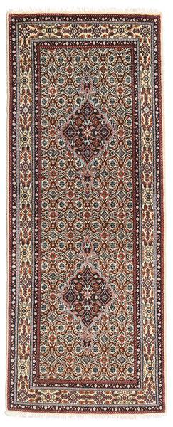 Moud Vloerkleed 79X198 Echt Oosters Handgeknoopt Tapijtloper Donkerrood/Donkerbruin (Wol/Zijde, Perzië/Iran)